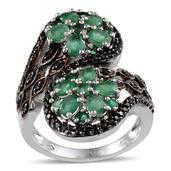 Kagem Zambian Emerald, Thai Black Spinel Platinum Over Sterling Silver Ring (Size 9.0) TGW 3.440 cts.
