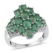 Kagem Zambian Emerald, White Topaz Platinum Over Sterling Silver Ring (Size 8.0) TGW 4.370 cts.