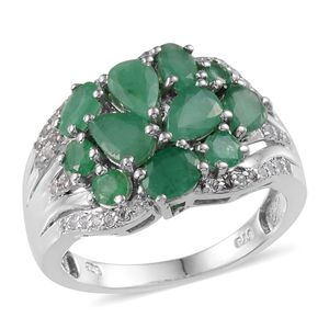 Kagem Zambian Emerald, White Topaz Platinum Over Sterling Silver Ring (Size 6.0) TGW 3.505 cts.