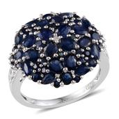 Kanchanaburi Blue Sapphire, Diamond Platinum Over Sterling Silver Ring (Size 9.0) TDiaWt 0.01 cts, TGW 5.365 cts.