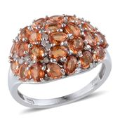Orange Sapphire, Diamond Platinum Over Sterling Silver Ring (Size 9.0) TDiaWt 0.15 cts, TGW 5.400 cts.