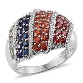 Multi Sapphire, Simulated Diamond Platinum Over Sterling Silver Ring (Size 8.0) TGW 3.555 cts.