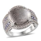 Marvelous Meteorites, White Topaz, Tanzanite Platinum Over Sterling Silver Ring (Size 8.0) TGW 16.860 cts.