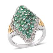 Kagem Zambian Emerald, White Topaz 14K YG and Platinum Over Sterling Silver Ring (Size 7.0) TGW 3.272 cts.