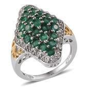 Kagem Zambian Emerald, White Topaz 14K YG and Platinum Over Sterling Silver Ring (Size 9.0) TGW 3.272 cts.