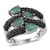 Kagem Zambian Emerald, Thai Black Spinel Platinum Over Sterling Silver Bypass Ring (Size 10.0) TGW 5.10 cts.