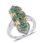 Kagem Zambian Emerald, White Topaz 14K YG and Platinum Over Sterling Silver Ring (Size 7.0) TGW 2.425 cts.