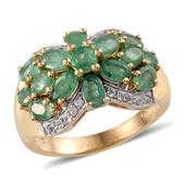 Kagem Zambian Emerald, White Topaz 14K YG Over Sterling Silver Ring (Size 6.0) TGW 3.510 cts.