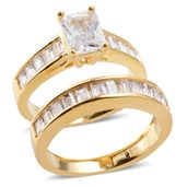 Simulated Diamond Goldtone Set of 2 Ring (Size 7) TGW 5.830 cts.