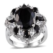 Australian Black Tourmaline, Thai Black Spinel, White Topaz Platinum Over Sterling Silver Ring (Size 10.0) TGW 12.190 cts.