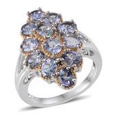 Bondi Blue Tanzanite Sterling Silver Split Ring (Size 5.0) TGW 4.250 cts.