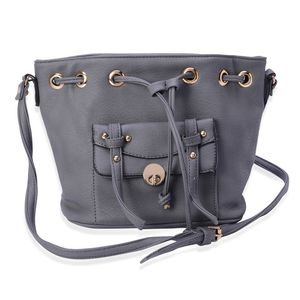 J Francis - Gray Faux Leather Crossbody Bag (11x5x8 in)