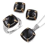 Australian Black Tourmaline, Thai Black Spinel 14K YG and Platinum Over Sterling Silver Ring (Size 7), Earrings and Pendant With Chain (20 in) TGW 24.910 cts.