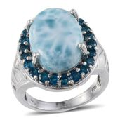 Larimar, Malgache Neon Apatite Platinum Over Sterling Silver Ocean Inspired Ring (Size 8.0) TGW 15.000 cts.
