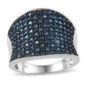 Blue Diamond (IR) Platinum Over Sterling Silver Ring (Size 10.0) TDiaWt 0.50 cts, TGW 0.500 cts.
