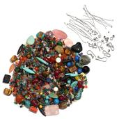 LC DIY Multi Gemstone Assorted Loose Beads with Silvertone Findings TGW 2275.00 cts.