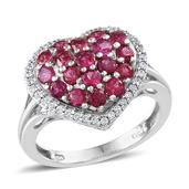 Ouro Fino Rubellite, White Zircon Platinum Over Sterling Silver Ring (Size 6.0) TGW 1.765 cts.