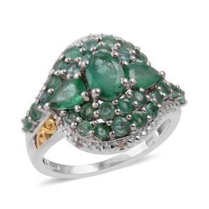 Kagem Zambian Emerald, Diamond 14K YG and Platinum Over Sterling Silver Ring (Size 6.5) TDiaWt 0.02 cts, TGW 3.325 cts.