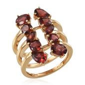 Mozambique Garnet 14K YG Over Sterling Silver Ring (Size 7.0) TGW 7.000 cts.