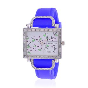 STRADA Austrian Crystal Japanese Movement Watch with Blue Silicone Band and Stainless Steel Back