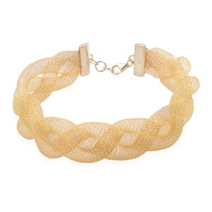 14K YG Over Sterling Silver Braided Mesh Bracelet (8.00 In) (5.5 g)