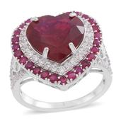 Niassa Ruby, Burmese Ruby, White Topaz Sterling Silver Ring (Size 8.0) TGW 12.930 cts.