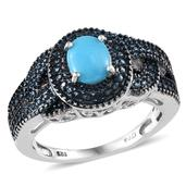 Arizona Sleeping Beauty Turquoise (Ovl 0.90 Ct), Blue Diamond Ring in Platinum Overlay Sterling Silver Nickel Free (Size 8) TDiaWt 0.020Cts., TGW 0.92 Cts.
