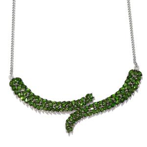 Russian Diopside Platinum Over Sterling Silver Over Under Princess Necklace (18 in) TGW 26.15 Cts.