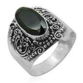 Bali Legacy Collection Thai Black Spinel (Ovl) Ring in Sterling Silver Nickel Free (Size 10) TGW 4.41 Cts.