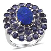 Australian Boulder Opal, Catalina Iolite Platinum Over Sterling Silver Ring (Size 7.0) TGW 10.250 cts.