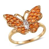 Creature Couture - Butterfly Ring with Jalisco Fire Opal (Rnd), Diamond in 14K YG Overlay Sterling Silver Nickel Free (Size 8.0) , TDiaWt 0.02 cts, TGW 0.870 cts.