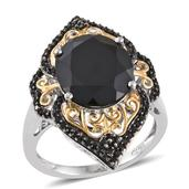 Thai Black Spinel 14K YG and Platinum Over Sterling Silver Ring (Size 7.0) TGW 10.180 cts.