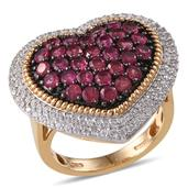 Ouro Fino Rubellite, White Zircon 14K YG Over Sterling Silver Ring (Size 6.0) TGW 4.180 cts.