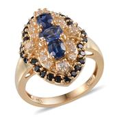 Himalayan Kyanite (Ovl 0.70 Ct), Thai Black Spinel, White Topaz Ring in 14K YG Overlay Sterling Silver Nickel Free (Size 8.5) TGW 3.220 cts.