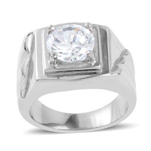Simulated Diamond Stainless Steel Ring (Size 6.5) TGW 3.46 cts.