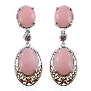 Peruvian Pink Opal, Niassa Pink Sapphire 14K YG and Platinum Over Sterling Silver Earrings TGW 16.30 Cts.