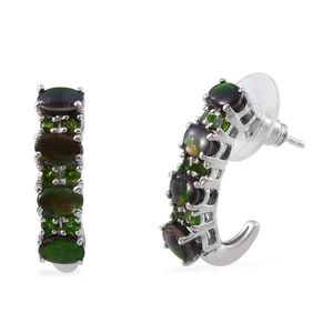 Canadian Ammolite, Russian Diopside Platinum Over Sterling Silver J-Hoop Earrings TGW 5.35 Cts.