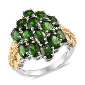 Russian Diopside 14K YG and Platinum Over Sterling Silver Cluster Ring (Size 9.0) TGW 8.100 cts.