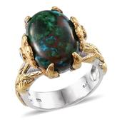 Australian Chrysocolla, Malgache Neon Apatite 14K YG and Platinum Over Sterling Silver Ring (Size 7.0) TGW 14.160 cts.