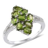 Russian Diopside, White Topaz Platinum Over Sterling Silver Ring (Size 10.0) TGW 2.680 cts.