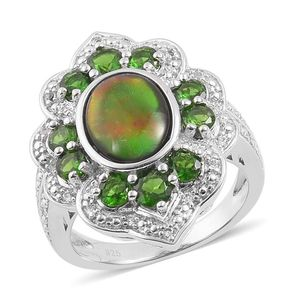 Canadian Ammolite, Russian Diopside, White Topaz Sterling Silver Ring (Size 9.0) TGW 3.61 cts.