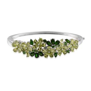 Russian Diopside, Mozambique Garnet Platinum Over Sterling Silver Bangle (8 in) TGW 20.533 Cts. TGW 20.53 Cts.