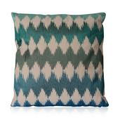 Blue and Green Cotton Rich Pulse Pattern Cushion (18x18 in)