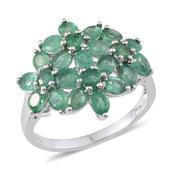Kagem Zambian Emerald Platinum Over Sterling Silver Ring (Size 10.0) TGW 3.400 cts.