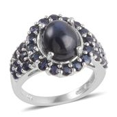 Thai Blue Star Sapphire, Kanchanaburi Blue Sapphire Platinum Over Sterling Silver Ring (Size 7.5) TGW 8.630 cts.