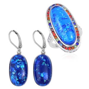 TLV Lab Created Blue Opal, Multi Color Austrian Crystal Stainless Steel Halo Ring (Size 7) and Lever Back Earrings TGW 23.00 cts.