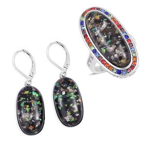 TLV Lab Created Black Opal, Multi Color Austrian Crystal Stainless Steel Halo Ring (Size 7) and Lever Back Earrings TGW 23.00 cts.