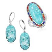 TLV Lab Created Green Opal, Multi Color Austrian Crystal Stainless Steel Halo Ring (Size 8) and Lever Back Earrings TGW 23.00 cts.