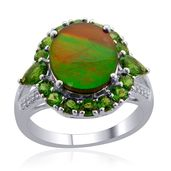 Canadian Ammolite, Russian Diopside, White Topaz Sterling Silver Ring (Size 10.0) TGW 4.890 cts.