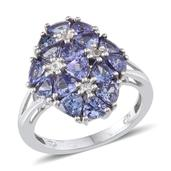 Tanzanite, White Topaz Platinum Over Sterling Silver Ring (Size 9.0) TGW 4.33 cts.